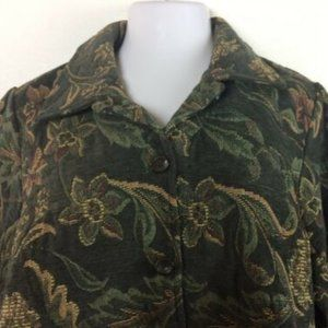 Jacket Fashion Bug Blazer Green Woven Tapestry 2X